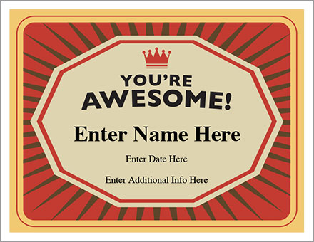 You're Awesome Certificate