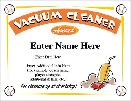 Vacuum Cleaner Certificate