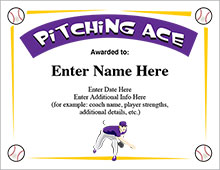 Pitching Ace Baseball Award Certificate image
