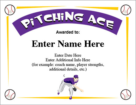 Pitching ace baseball certificate award template pitching ace baseball certificate yadclub Image collections
