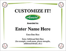 Baseball Award Certificates - Customize It