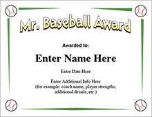 Mr. Baseball Award Certificate image