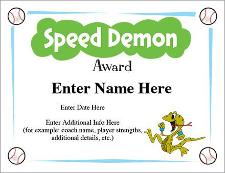 Speed Demon Award