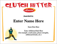 Baseball certificates free award templates baseball clutch hitter award certificate image yadclub Image collections