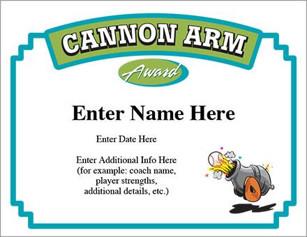 Cannon arm certificate baseball award template for Baseball certificates templates free
