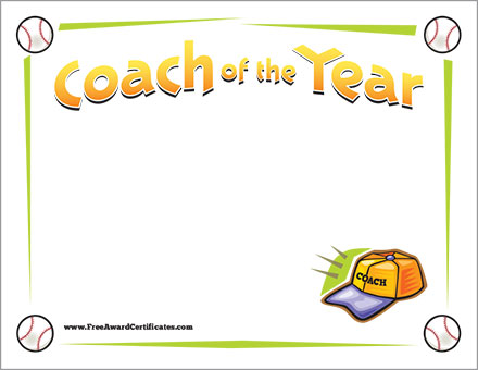 Coach of the year baseball award certificate template coach of the year baseball free yadclub Image collections