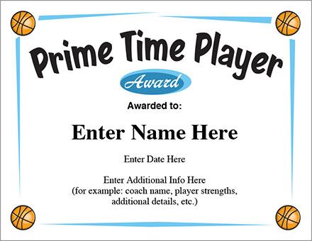 Prime Time Player Award Basketball Certificate