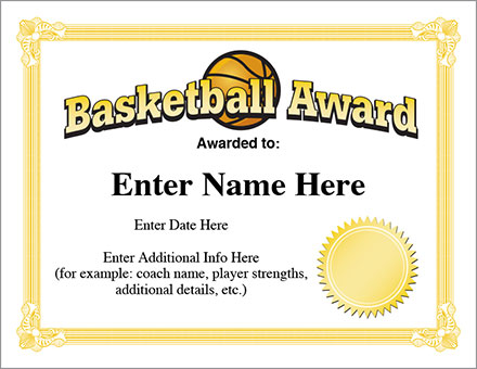 Basketball Award Template  Hoops Certificates