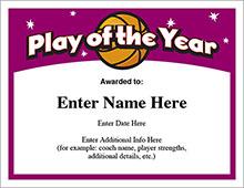 Baseball Certificates - Basketball play of the year award image