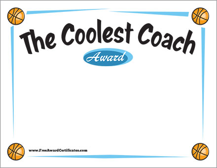 Coolest Coach Basketball Award Certificate  Template
