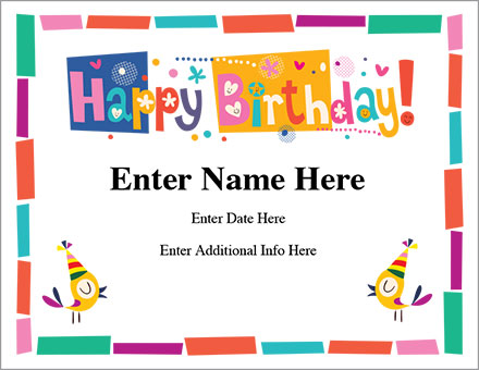 Happy Birthday Certificate - Free Award Certificates