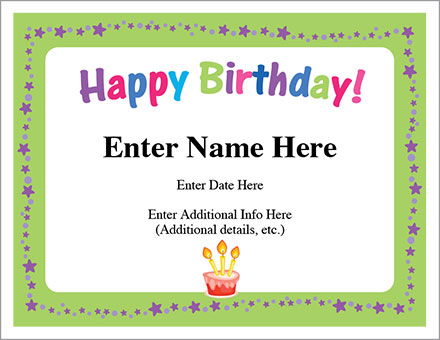 Happy Birthday Stars Certificate - Free Award Certificates