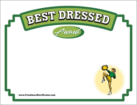 best dressed cheerleader certificate free image