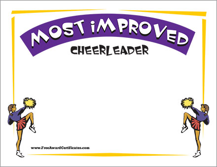 Most Improved Certificate - Cheerleader Award Templates