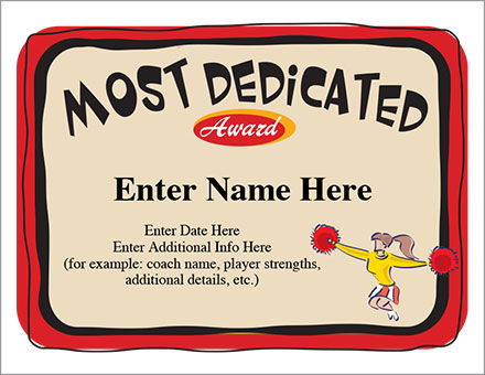 Most dedicated award cheerleader certificate template most dedicated award yadclub Images