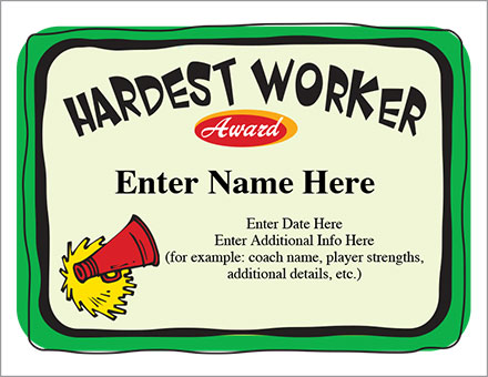 Hardest Worker Certificate