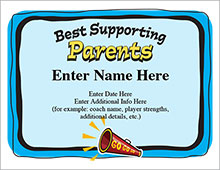 Best Supporting Parents Cheerleading certificate image