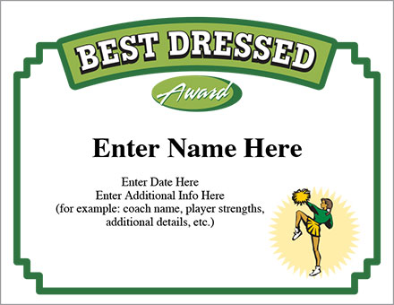 Best dressed certificate cheerleading award templates best dressed certificate yadclub Image collections