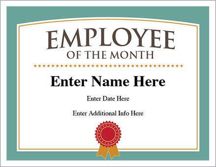 Employee Of The Month Certificate  Free Award Certificates