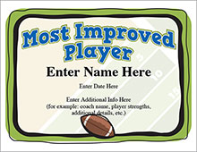 Most improved player football certificate