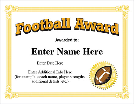 Football award certificate template recognition football award certificate template yelopaper Choice Image