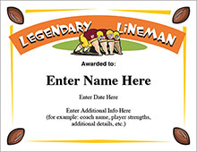 Legendary lineman football award image