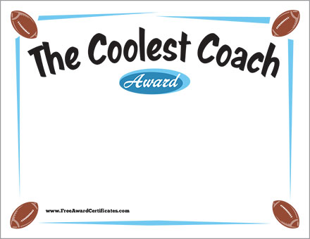 the coolest coach football certificate award template