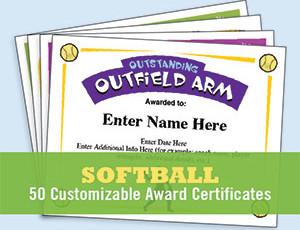 Softball Certificates