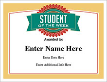 student of the week certificate image