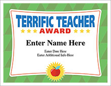 Terrific Teacher certificate template