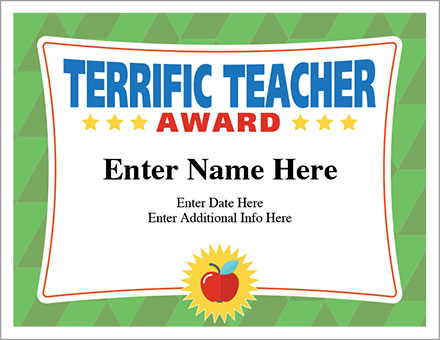 terrific teacher award certificate