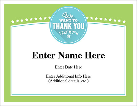 we want to thank you certificate free award certificates