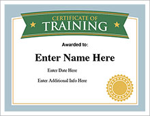 certificate of training award image