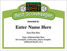 Best Scorekeeper Volleyball Award