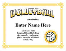 Volleyball Award Certificates - Templates image