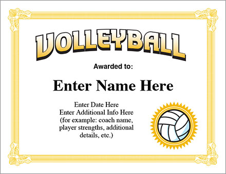 volleyball award certificate free award certificates