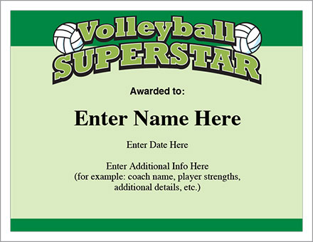Volleyball superstar certificate award template youth volleyball superstar certificate yelopaper Image collections
