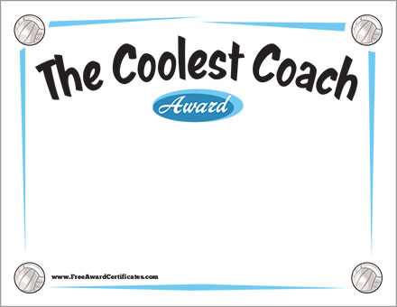 The Coolest Coach Volleyball Certificate Template Award