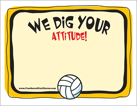 Volleyball certificates free award templates free volleyball certificates most kills award template most kills award we dig your attitude award yadclub Gallery