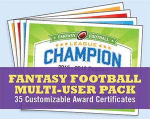 fantasy football certificates league pack