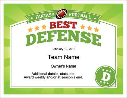Best Defense Award Fantasy Football