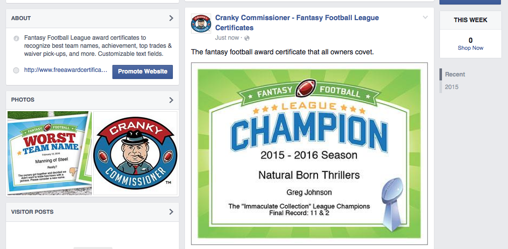 Free crybaby fantasy football certificate free awards facebook award image yelopaper Choice Image