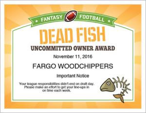 Dead Fish award certificate