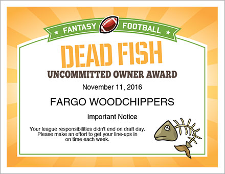 Dead fish award certificate fantasy football league dead fish award certificate yelopaper Choice Image