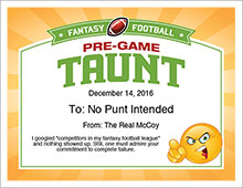 Pre-game taunt certificate image