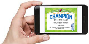 fantasy football certificate on iphone