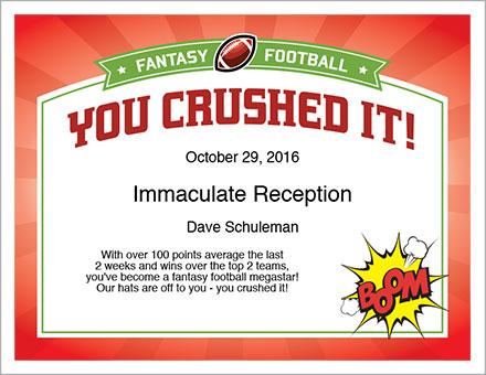You Crushed It! Award