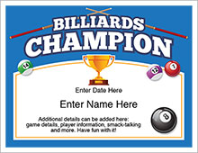 billiards champion certificate