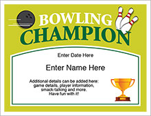 bowling champion certificate