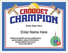 croquet champion certificate
